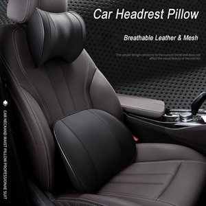 Seat Cushions Car Back Support Pillow And Neck Set Memory Cotton Fiberl Leather Lumbar Travel Rest Cushion