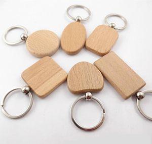 Chaveiros Creative Keychain Chaveiros Redondos Quadrado REC Forma Em Branco Anéis De Madeira DIY DIY Presentes Presentes Iia247 XKKN8 NCDSH