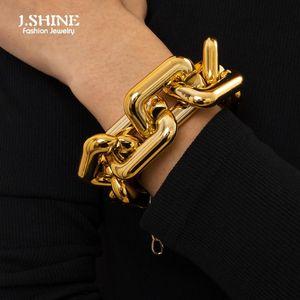 JShine Exaggerated Cuban Curb Acrylic Chain Bracelet Bangle Women Men Egypt Style Square CCB Link Chunky Punk Hand Jewelry Charm Bracelets