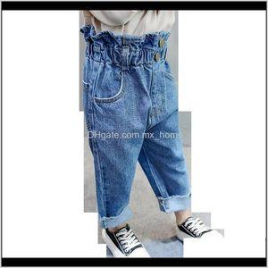 Baby Toddler Girl Kids Solid Color Jeans For Children High Waist Childrens Clothing 201204 Iodph Jmtki