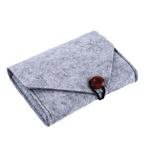 Portable Button Organizer Case Felt Power Pack Mobile Phone Data Cable Charger Package Bag Storage Bags