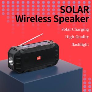 Solar Charge Bluetooth Speaker with Flashlight Portable Wireless Stereo Loudspeaker Soundbox Supports FM Radio USB disk TF MP3 Music Player