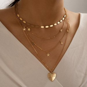 Bohemian 4 Layers Metal Gold Plating Choker Star Charms Tassel Heart Pendant Long Chain Necklace For Women Gift Necklaces