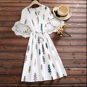 Mori Girl Summer Women Dresses Cotton Dress O Neck Tree Printed Casual Loose Vestidos Mujer Short Sleeve Sweet