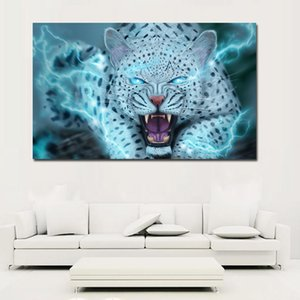 Big cats Canine tooth Snow leopards Roar Oil Painting On Canvas Art Prints For Living Room Home Decoration