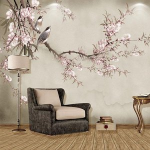 Wallpapers Chinese Style Flowers Birds Mural Wallpaper 3D Art Pink Floral Po Wall Paper Living Room TV Sofa Study Home Decor Papers