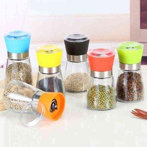 Kitchen Tool Salt Grinder Mill Manual Glass Pepper Spice Grinding Bottle Seasoning Pot Colorful Condiment Grinders Anti Wear Ceramic NSEV