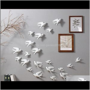 Decorative Objects Figurines Hanging European Style Living Room El Background Soft Ceramic Wall 3D Bird Decoration Uht5H Dfpcv