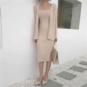 High quality winter Black Women's Casual Long Sleeved Cardigan + Suspenders Sweater Vest Two Piece Runway Suit