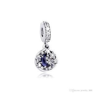 2020 Winter Fits Pandora Bracelet Blue Night Sky Crescent Moon Charm Real 925 Sterling Silver Beads for Women Jewelry DIY Making Kralen