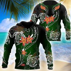 Men's Hoodies & Sweatshirts Polynesian Frangipani And Turtle Tattoo 3D Printed Men Hoodie Harajuku Unisex Casual Jacket Pullover Sudadera Ho