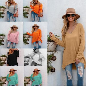 Women Long Sleeve Knitted Sweater Sexy V-neck Irregular Hem Loose Pullover Tunic Woman Luxurys Designers Clothing