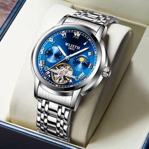 Fashion Hollow Out Men's Luminous Tourbillon Stainless Steel Mechanical Watch