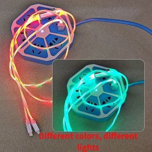 3 in 1 Fast Charger LED Flowing Light Type C Cables Quick Charging Line 2A Micro USB Cable Chargers Cord