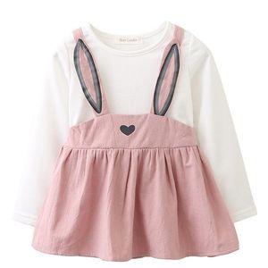 Casual Children Sets T-shirt+Strap Dress Girls Clothing Kids Summer Suit Girl's Dresses
