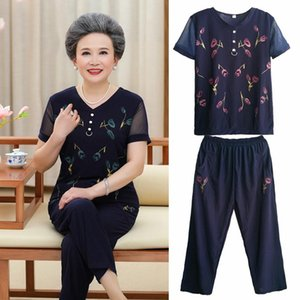 Women Sets 2 Pieces Set Emulation Silk Clothing Large Size 2021 Summer Middle Aged Mother Tops+Pants Outfits Women's Tracksuits