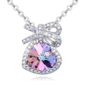 Gifts Austrian Crystal Happiness Lovers Hearts Bow Pendants Charm Chokers Necklaces Luxury High-grade Fine Jewelry Accessories Real Gold Unique Designer For Women