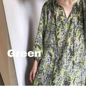 style 20ss white super light Fairy Green Holiday Flower Beach loose lazy Lantern Sleeve Dress