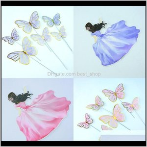 Other Event Supplies Purple Beauty Butterfly Shaped Decor Evening Party Wedding Decorate Baking Cake Gilding Plug In Unit 0 88Bd J2 8S S1Pgo