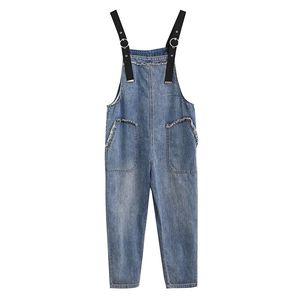 Summer Rompers Women Jeans Jumpsuit Large Size 2021 Loose Casual Denim Womens Jumpsuits Big Pocket Overalls Women's