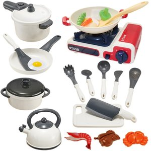 family Simulation Play House KitchenChildren's play toy set, chequer Le white pot, induction cooker, kitchen utensils, and cookingSnack Food