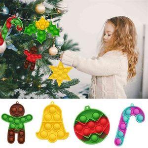 Rainbow 9pcs set Christmas Halloween Children's Fidget Toys Key Chain Poppers Xmas Tree Pendant Decompression Toy Desktop Educational Toy G97GTRN