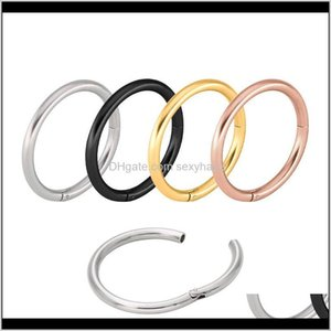 & Studs Drop Delivery 2021 Segment Ring Hoop Rings Septum Clicker Nose Piercing Buckle Round Earrings Body Jewelry Stainless Steel Interface