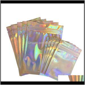 Taschen Lagerung Housekeeping Organisation Hausgarten Drop Lieferung 2021 Laserfarbe Aluminium Selbstklebende Einzelhandel Tasche Candy Mylar Folie Packin