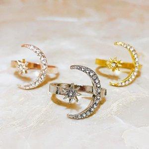 Кластерные кольца Ранн Луна Солнца Форма Блестящий Циркон Для Женщин Роскошная Свадьба Подходящая Женская Мода Открытое Кольцо Подруга Жена Подарки