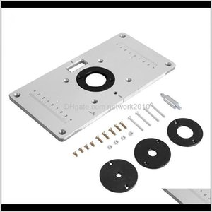 Tool Parts 1 Set Multifunctional Aluminum Table Plate W  4 Router Insert Rings Screws For Woodworking Benches Veax3 2I3Ww