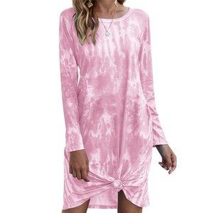 Women's Wear Fall   Winter 2021 European And American Tie Dye Gradually Loose Long Sleeve Dress Swimwear