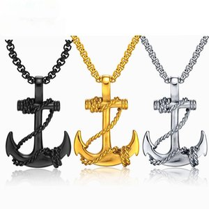 Classic Anchor Necklaces Pendant For Men Fashion Jewelry Black Gold Silver Color 60MM Chain