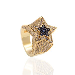 Fashion Hip Hop Mens Jewelry Rings Five-point Star Bling Rings Iced Out Zircon Hiphop Gold Silver Ring 1659 T2