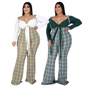 Pants for Autumn Size Clothes Sets Fashion New Suspender Trousers Set Long Sleeve Low Cut Shirt High Waist Long 2021 Women Plus