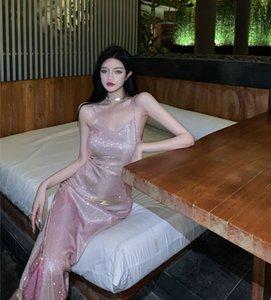 Vestidos de fiesta Sparkle Skirt Falda con cuello en V Sexy vestido de noche