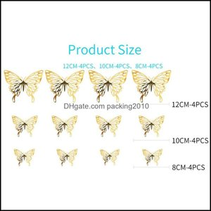 Décor Home & Garden3D Stickers Textured Hollow Living Room Bedroom Decoration Simulation Butterfly Beauty Wall Sticker Ddd4495 Drop Delivery