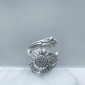 Cluster Rings Bohemia Silver Color Sunflower Ring Flower Spoon Daisy For Women Female Wild Boho Jewelry Accessories