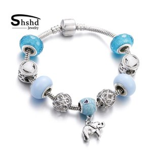 Link, Chain Shshd Trendy Elephant Horse Pendant Bead Bracelet Luxury Women Sliver Charm Bracelets Bangles Crystal Beads DIY Jewelry Pulseira