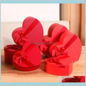 Gift Wrap Event & Party Supplies Festive Home Garden Florist Hat Boxes Red Heart Shaped Candy Set Of 3 Box Packaging For Gifts Christm