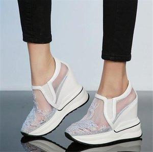 Платье обувь PXELENA Роскошный кристалл скрытый Wege High каблуки платформы женские натуральные кожаные сетки дышащие насосы Punk Rock Gothic Lady