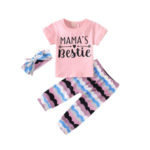 Kids Girls Cartoon Outfits 6 Style Letter Printed Tops Infant T-shirts Suit Toddler Striped Floral Trousers Baby Girls Clothes Sets 061219