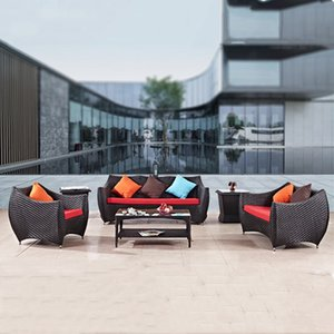 Living room terrace garden rattan sofas set Outdoor sofa coffee table table. Black