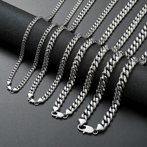 Stainless Steel Cuban Link Chain Necklace Silver Mens Necklaces Hip Hop Jewelry 6 8 10 12mm