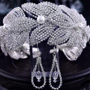 Baroque jewelry, pearl rhinestone headband earrings, bridal wedding, party dress accessories, leaf design, birthday lover gift, show host headgear