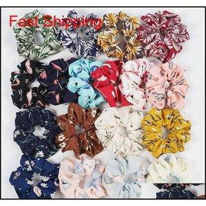 Accessories Women Floral Scrunchies Elastic Hair Bands Flamingo Print Scrunchie Silk Hairband Head Rope Ponytail Holder Hha332 Dgzep Xf1Wl