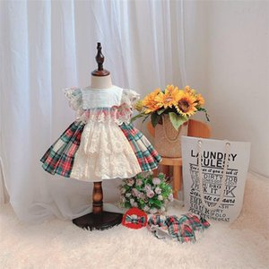 Vestidos de niñas Cekcya Baby Girl Español Tela Escacio Vestidos de encaje niños Boutique Ropa Niños Lolita Bola Vestido Infantil Cumpleaños Bautismo Ropa