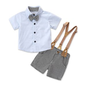 Boys Clothing Sets Kids Suit Boy Baby Clothes Summer Cotton Short Sleeve Necktie Shirts Suspenders Pants Shorts 2Pcs 0-3T B4846