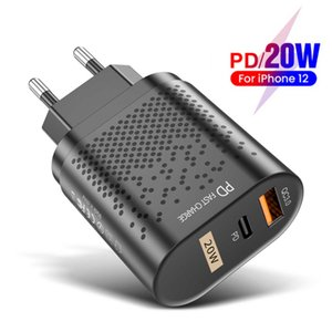 Qc3.0 fast charging PD charger 20W suitable for Apple 12 usb-a + type-C dual port European gauge head