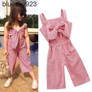 Vieeoease Girls Overalls INS Plaid Kids Clothing Summer Fashion Sleeveless Vest Bow Stripe Jumpsuits EE-471