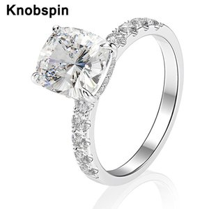 Knobspin Classic 100% 925 Sterling Silver Wedding Rings For Women Sparkling 8*9mm High Carbon Diamond Party Fine Jewelry Gift Cluster
